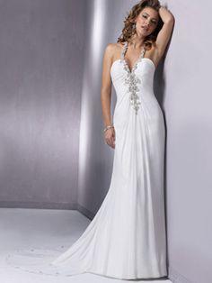 Mermaid / Trumpet Halter V-Neck Non-Strapless Tank Chiffon Elastic Silk-like Satin Wedding Dress