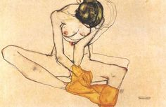 I DO NOT DENY THAT I HAVE MADE DRAWINGS AND WATERCOLORS OF AN EROTIC NATURE. BUT THEY ARE ALWAYS WORKS OF ART. – EGON SCHIELE    Sitting Female Nude with Yellow Blanket by Egon Schiele, 1910. Watercolor gouache and graphite on paper.