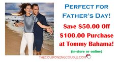 **HOT DEAL** Get $50 off $100 Tommy Bahama purchase! Grab something for Dad for Father's Day in store or online! Or use at a Tommy Bahama restaurant.  Click the link below to get all of the details ► http://www.thecouponingcouple.com/get-50-off-100-at-tommy-bahamas-time-to-start-shopping/  #Coupons #Couponing #CouponCommunity  Visit us at http://www.thecouponingcouple.com for more great posts!