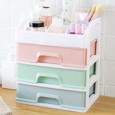 Makeup Organizer Drawers Plastic Cosmetic Storage Box Jewelry Container Make Up Case Makeup Brush Holder Organizers Diy Organizer, Make Up Organiser, Makeup Drawer Organization, Makeup Storage Drawers, Makeup Display, Cosmetic Storage, Drawer Organisers, Konmari, Desk With Drawers
