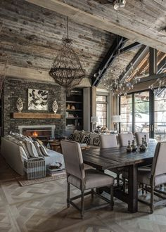 You can find this modern chalet design in the USA. The chalet is located near the ski resort. Chalet Design, House Design, Floor Design, Chalet Style, Ski Chalet, Design Web, Cabin Interiors, Rustic Interiors, Modern Farmhouse Living Room Decor