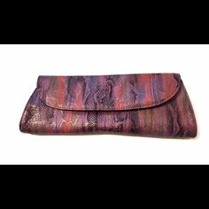 Faux snake skin multicolored clutch purse Cute clutch for a night out. Detachable wristlet Bags Clutches & Wristlets