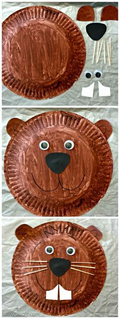 Groundhog Paper Plate Craft For Kids #Groundhogs day art project | http://CraftyMorning.com