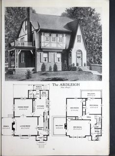 Homes of brick and stucco. Sims 4 House Plans, Sims House, Small House Plans, House Floor Plans, Building Plans, Building A House, Vintage House Plans, Vintage Homes, Tudor Style Homes