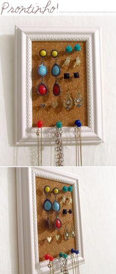 Como fazer um organizador de bijuterias - Ricota Não Derrete  DIY - Jewelry Organizer