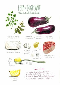 Feta & Eggplant Meatball illustrated recipe by Felicita Sala