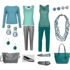 """""""Teals, Greens and Greys4"""" by pidget2 on Polyvore"""