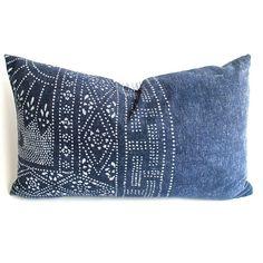 Vintage indigo cotton batik pillow