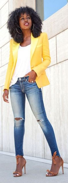 Yellow Satin Lapel Blazer by Style Pantry