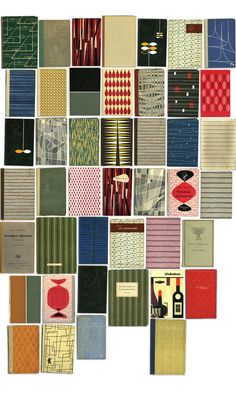 I'd quite like a jacket made of book jackets, or at least inspired by. How wonderful are these designs?