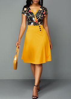 A Line Dress Zipper Back Printed Button Detail High Waist Dress Latest African Fashion Dresses, Women's Fashion Dresses, Casual Dresses, Summer Dresses, Sexy Dresses, Dresses Dresses, Trendy Dresses, Club Party Dresses, Spandex Dress