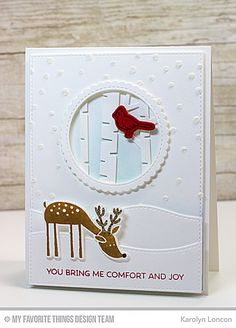 My Favorite Things - Die-namics - Deer Friends-This Die-namics coordinates with the Deer Friends stamp set for perfectly sized die cut Winter Cards, Fall Cards, Holiday Cards, Christmas Cards, Holiday Ideas, Christmas Deer, Christmas Greetings, Handmade Christmas, Comfort And Joy