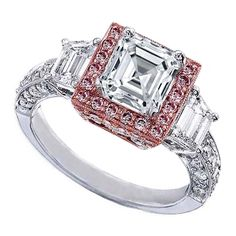 Asscher Cut Diamond Engagement Ring Heirloom Halo Setting with Trapezoids side stones in 14K White and Rose Gold