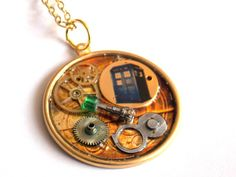 This necklace is made of a 1.5 brass disc that features the TARDIS, the Doctors sonic screwdriver, and antique gears. Hangs on a 16 chain.