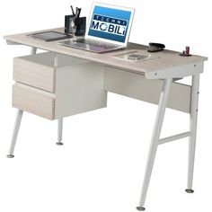 Techni Mobili Hasley Student Desk with 3-Port USB and Storage (Ash)