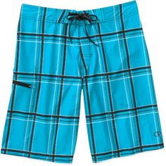 Op Men's Basket Weave Plaid Stretch Boardshorts
