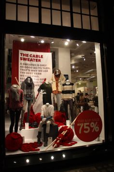 """""""the GAP, cable sweater"""", pinned by Ton van der Veer Fashion Merchandising, Visual Merchandising, Store Window Displays, Autumn Display, Cable Sweater, Window Design, Gap, Windows, Window Ideas"""