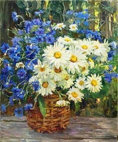 Camomiles in the Basket flower - oil painting