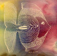 peces de acuarela Laura Langman Fish Drawings, Zentangle, Scrap, Doodles, Pets, Abstract, Artwork, Painting, Mermaids