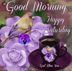 Good Morning, Happy Saturday, God Bless You happy saturday saturday morning birds flowers coffee Happy Saturday Pictures, Good Morning Saturday Images, Good Morning Images Download, Good Morning Picture, Good Morning Flowers, Good Morning Good Night, Saturday Quotes, Saturday Saturday, Morning Pics