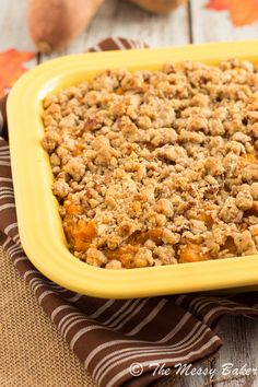 Pecan Streusel Topped Sweet Potato Casserole - The Messy Baker Blog
