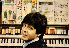 Paul McCartney - HELP it always cracks me up that he has comic books at the organ instead of sheet music. He can't read sheet music.