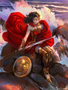 Wonder Woman by Diego Cunha Wonder Woman Art, Superman Wonder Woman, Wonder Women, Univers Dc, Arte Dc Comics, Comics Girls, Character Drawing, Fantasy Characters, Marvel Dc