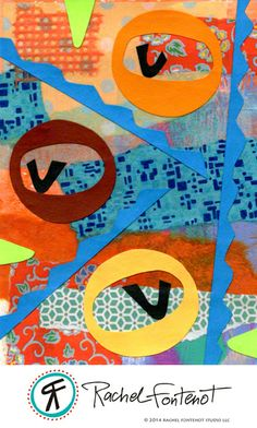 Rachel Fontenot - Collage Circle #4 - Mixed Media Paper Collage