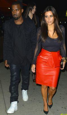 Kanye West and Kim Kardashian - Street Style - Orange Skirt & Grey Top