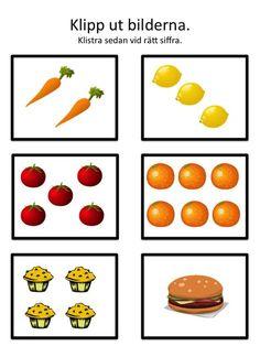 Klipp ut bilderna och lägg eller klistra vid rätt siffra. Här kan du skriva ut materialet:Räkna 1 Räkna 2 Räkna 3 Bilderna kommer från open clipart.