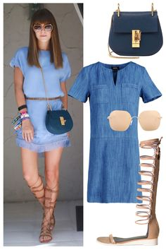 Take a hint from Coachella street style and pair shades of blue with your favorite gladiators: