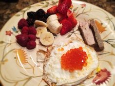 Eggs With Salmon Roe, Liver Pate, Bananas And Berries: 3/7/14