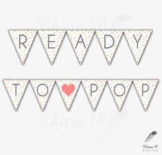 Ready to Pop Baby Shower Banner - Printed or Printable, Heart Pink Gold Grey Instant Download Bubbles Confetti Large Size - chitrap.etsy.com
