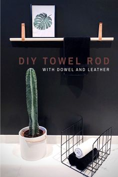 DIY towel rod - dowel and leather  diywithbenedictehn