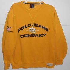 Vintage Ralph Lauren Polo Jeans Spellout With USA Flag Yellow Sweatshirt  Large d648d7d6818e3