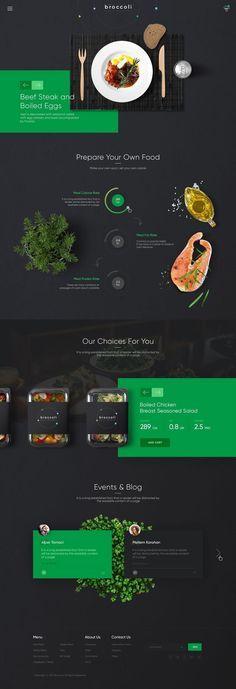 "design concept of the restaurant's website ""broccoli"" on Behance"