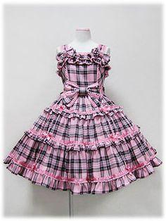 Lolibrary   Angelic Pretty - JSK - Wonder Trip Tartan JSK pink Frocks For Girls, Kids Frocks, Little Dresses, Little Girl Dresses, Cute Dresses, Girls Dresses, Frock Design, Frock Fashion, Lolita Fashion
