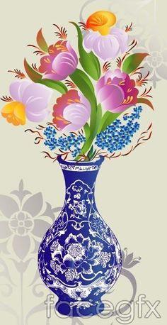 Blue and white porcelain vase pattern flower vector