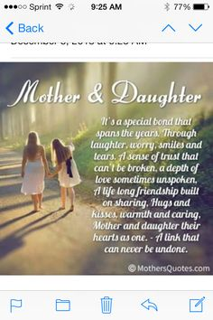 "Looking for the best mother and daughter quotes? Check out our collection of the best quotes and sayings below. Top Mother Daughter Quotes ""A mother is a daughter's best friend. Famous Mothers Day Quotes, Mom Quotes From Daughter, I Love My Daughter, My Beautiful Daughter, My Love, Mother Daughters, Happy Birthday Daughter From Mom, Daughters Day Quotes, Mothers Day Poems"