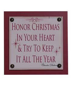 Red 'Honor Christmas' Tile Sign by Adams & Co. on #zulily