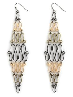 Delight in the vintage elegance of these spectacular statement earrings, which feature a dramatic cascade of scroll-link accents. The multiple metals--gunmetal and gold--only add to the allure.