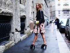 street style Gingham handbags    ... dress, Paula Cademartori bag , Iceberg leather jacket and Zara shoes