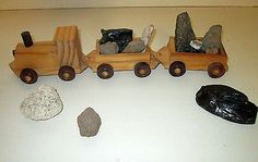 Vintage MINING TRAIN Wooden Handmade Pulling 2 Cars With Actual Mineral Loads.