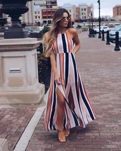2018 Women Maxi Dress Ladies Party Evening Summer Beach Sundress Womens Long Polyester Natural O-neck Dresses Fashion Vestidos, Fashion Dresses, Dress Outfits, Casual Dresses, Look Star, All Star, Summer Outfits, Summer Dresses, Summer Maxi