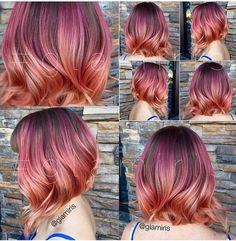 Pink to rose gold ombre