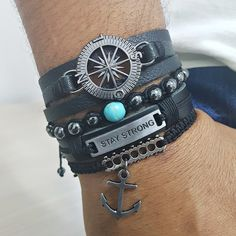 Kit 4 Pulseiras Masculinas Couro Bussola Stay Strong Ancora mens bracelets fashion style cocar brasil