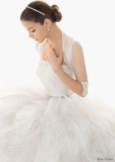 rosa clara 2013 barcelona wedding dress illusion sleeves shrug