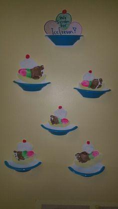 Banana split footprints Daycare Crafts, Classroom Crafts, Baby Crafts, Preschool Crafts, Toddler Art, Toddler Crafts, Infant Crafts, Summer Crafts For Toddlers, Art For Kids