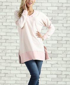 Look what I found on #zulily! Light Pink Melangé V-Neck Sweatshirt - Plus Too #zulilyfinds