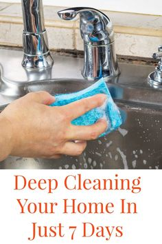 These are easy was for Deep Cleaning Your Home in Just 7 Days! It is crazy how easy this can be to do and also to maintain. Cleaning tips, cleaning schedule, green cleaning Deep Cleaning Tips, House Cleaning Tips, Natural Cleaning Products, Cleaning Solutions, Cleaning Hacks, Diy Hacks, Cleaning Checklist, Deep Cleaning Schedule, Cleaning Lists